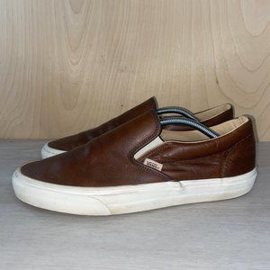Vans Classic Brown Leather Slip On Skate Shoes 11.5